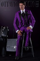 Latest Coat Pant Designs Purple Italian Men Suit Slim Fit 3 Piece Tuxedo Custom Suits Groom Prom Party Blazer Terno Masuclino L5