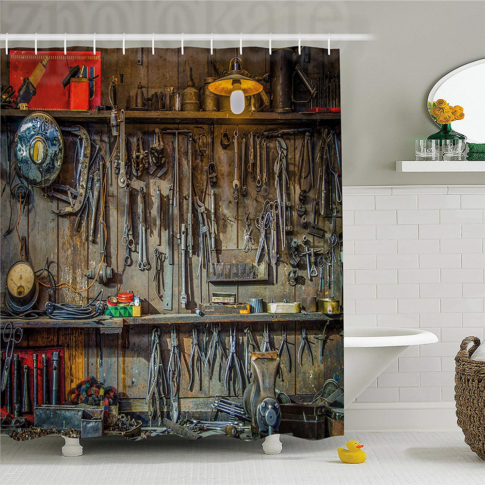Man Cave Decor Shower Curtain, Vintage Tools Hanging On A Wall In A Tool Shed Workshop Fixing Equipment, Fabric Bathroom Decor S