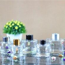 5 шт./лот 50 мл/100 мл/150 мл/200 мл прозрачный круглый пустой тростниковый диффузор стеклянные бутылки с серебряными/золотыми/черными крышками и пластиковыми пробками
