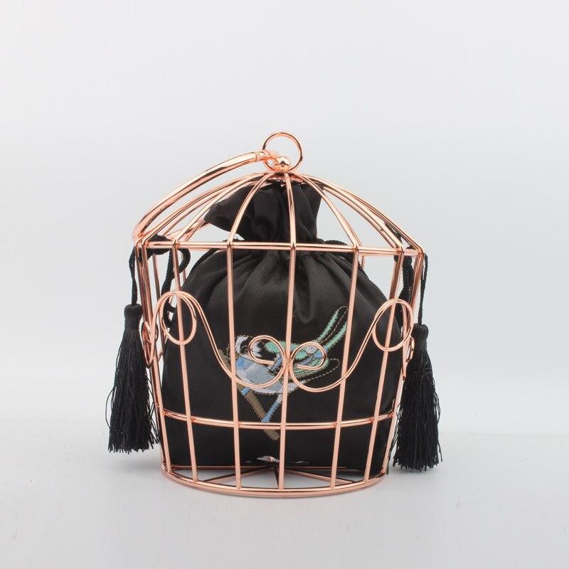 Узор Птицы женская черная акриловая металлическая вечерняя сумочка клатч Свадебная вечеринка Повседневная цепочка через плечо сумочка и кошелек