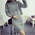 Últimas invierno moda mujeres punto de cuello redondo de lana de manga larga trajes de tejer mujeres delgadas elegantes ocio traje de falda G2173