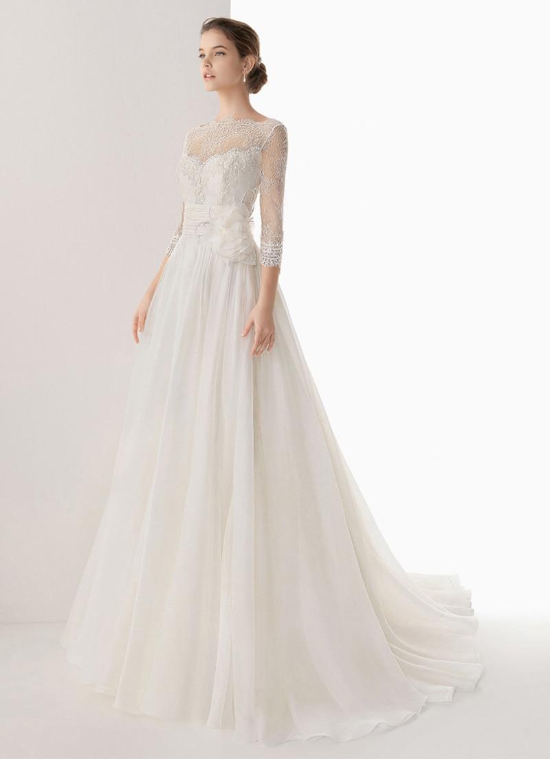 Court Retro Vintage White Floor Length Long Wedding Dress Brides ...