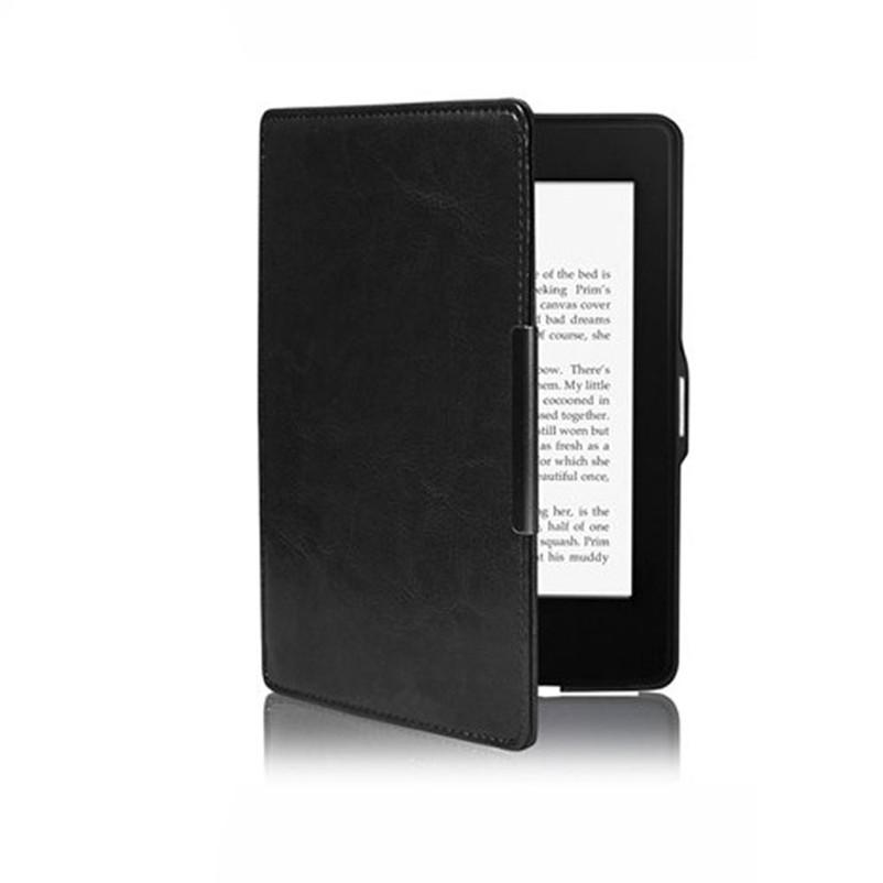 Black Magnetic Auto Sleep Leather Cover Case For Amazon Kindle Paperwhite 1 2 Dropshipping High Quality Free Shipping Z 35 slim leather case smart cover for amazon kindle paperwhite sleep wake crazy horse pattern magnetic buckle leather case