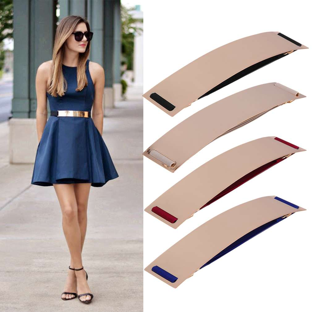 Women Metal Bling Mirror Plate Waist   Belt   Stretch Elastic Wide Band Waistband for Women Female Dress Accessories