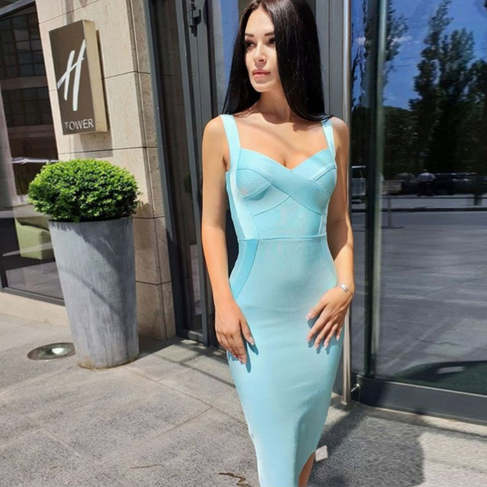 Evening Party Bandage Dresses 2019 New Fashion Bodycon Sexy Knee Length Bandage Dress Celebrity Summer Women