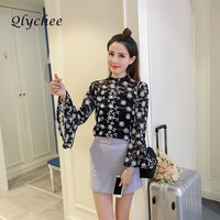 Qlychee Spring Autumn Vintage Women S Lace Flower Flare Sleeve Blouse Camis Shirt Loose Shirts Ladies