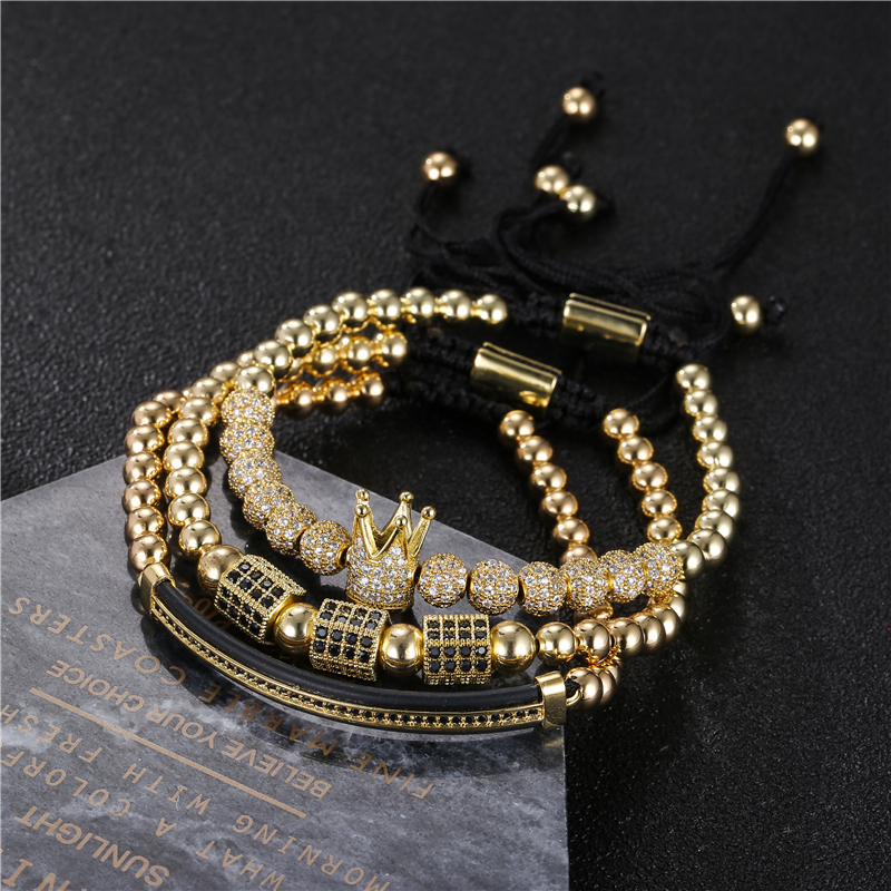 3pcs/set Men Women Gold Hip Hop Bracelet Jewelry CZ Moon Crown Charms Macrame Beads Bracelets Sets for women pulseira masculina(China)