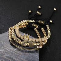 3 pçs/set homens mulheres ouro hip hop pulseira jóias cz lua coroa encantos macrame grânulos pulseiras conjuntos para feminino pulseira masculina