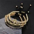 3 шт./компл. мужские женские золотые браслеты в стиле хип-хоп ювелирные изделия CZ луна Корона шармы бусины Макраме Браслеты наборы для женщин...