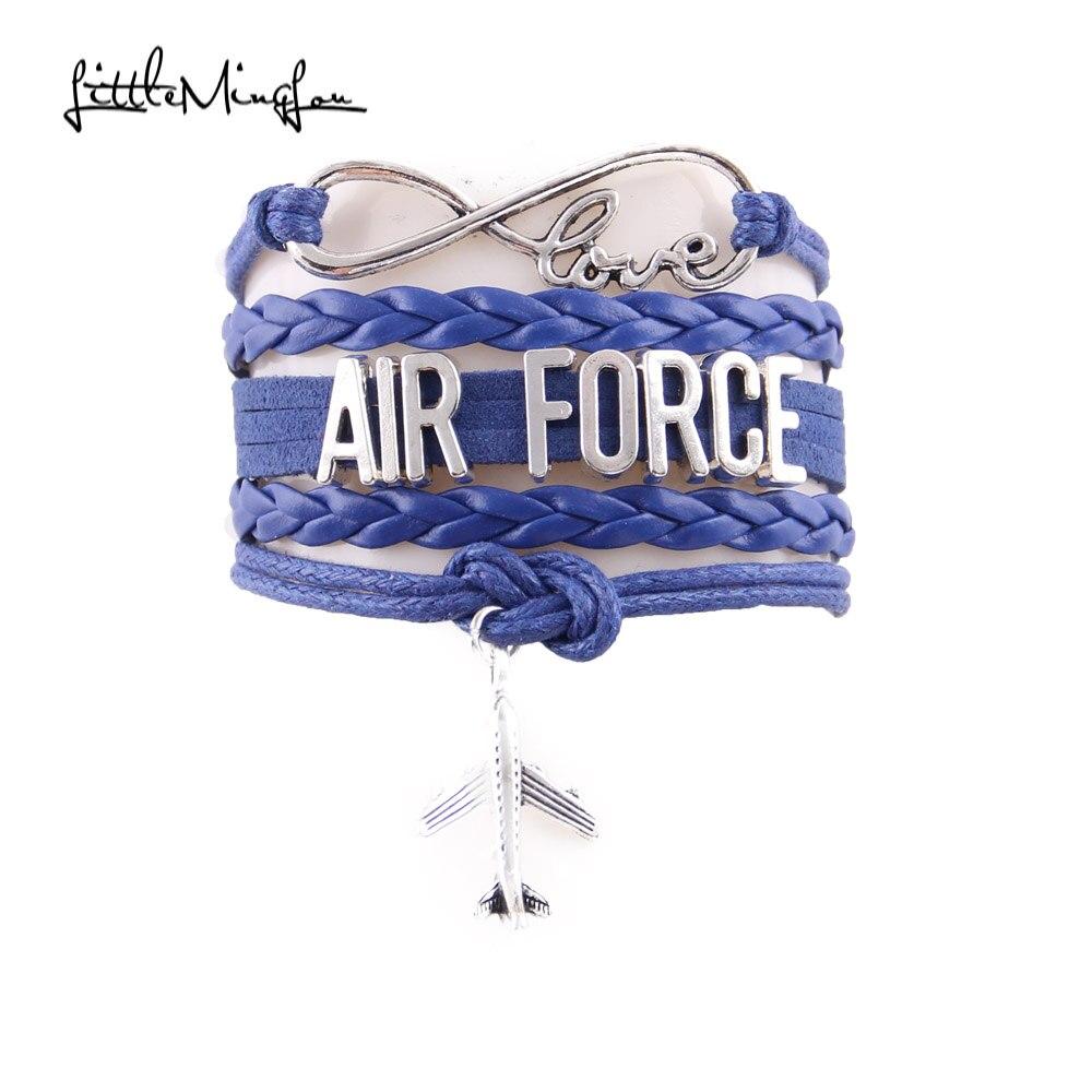 Little Minglou 6 colors Infinity Love AIR FORCE bracelet air plane charm leather wrap men bracelets