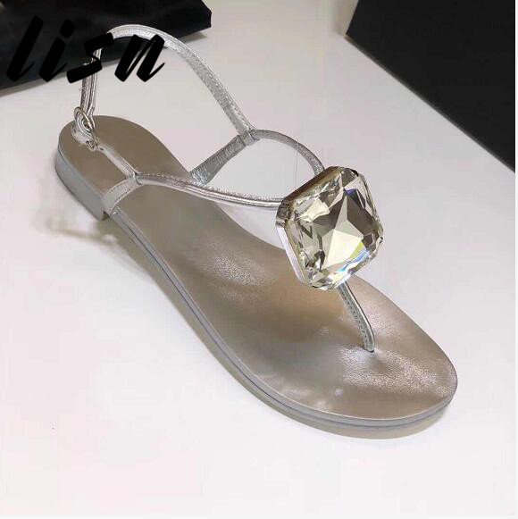 LISN New Brand Luxury Silver Gold Genuine Leather Crystal Diamond Summer Sandals Open Toe Buckle Strap Ladies Shoes WomenLISN New Brand Luxury Silver Gold Genuine Leather Crystal Diamond Summer Sandals Open Toe Buckle Strap Ladies Shoes Women