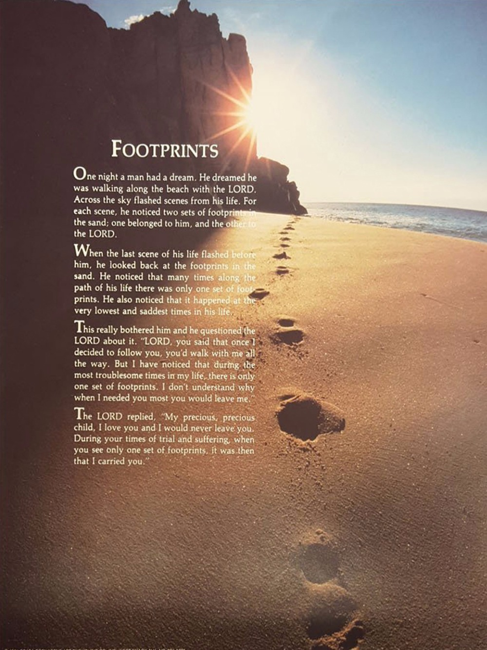 Inspirational Footprints Poem in the Sand Art Fabric poster 17x13Decor 03 image