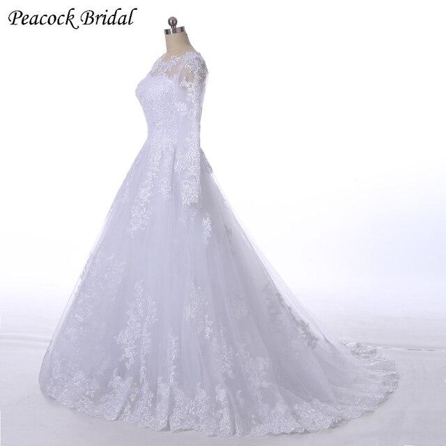 pavo real elegante encaje manga larga princesa vestidos de novia
