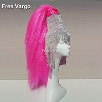 Holographic Burning Man Shiny Rhinestone Wig Headdress Head Pieces Rave Stage Dancer Dj Singer Wear Tassel Hat Costumes