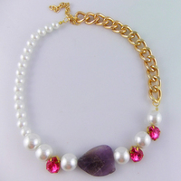 Fashion Nature Stone Acrylic Crystal Pearl Gold Plated Chain Statement Collar Choker Necklace For Women 10