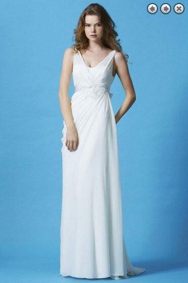 2018 Natural Chiffon beach Hot Vestidos Formales Back Fashion Long Brides bridal gown Detachable Belt   bridesmaid     dresses