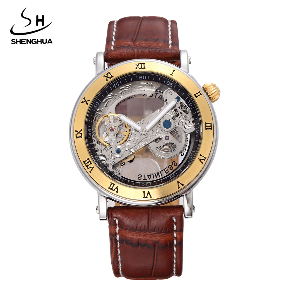 2017 SHENHUA Gold Hollow Automatic Mechanical Watches Men Luxury Brand Leather Strap Casual Vintage Skeleton Watch Clock relogio kinyued rose gold hollow automatic mechanical watches men luxury brand leather strap casual vintage skeleton watch clock relogio