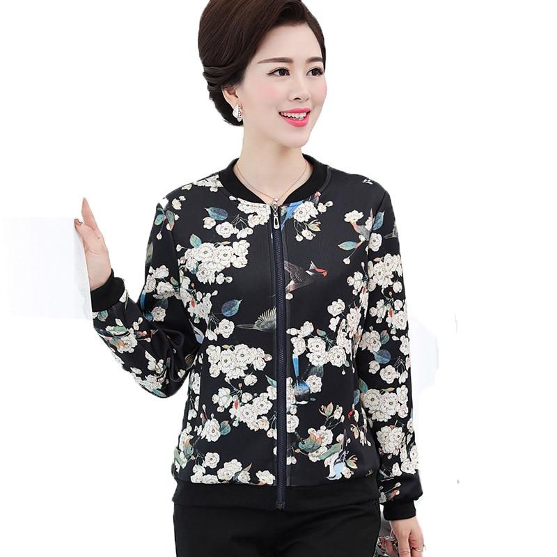 2016 Women Bomber Jackets Coats Autumn Vintage Flower Print Casual Sweatshirt Jacket Blaser Jaqueta 11 Color Plus Size 4XXXXL~XL