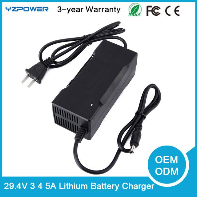 Ventilador embutido 29.4 V 3A/4A/5A Inteligente Elétrica de Iões de Lítio Carregador de Bateria Para Lipo Battery Power Pack ferramenta