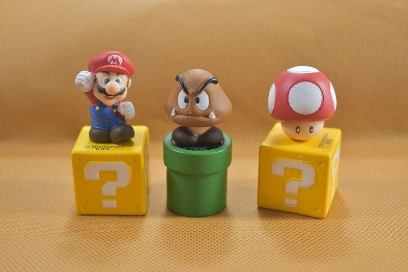 Super Mario Bros Figures Toy Bundle 5cm 2 Goomba Luigi Koopa