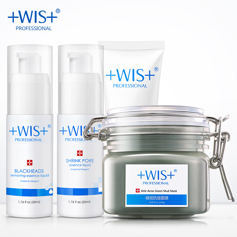 WIS Brand  anti acne and care set 4 in 1 Blackhead remover Pore cleanser Shrink pore liquid Deep cleaning mask face mask cucnzn peel off pore cleanser blackhead remover mask