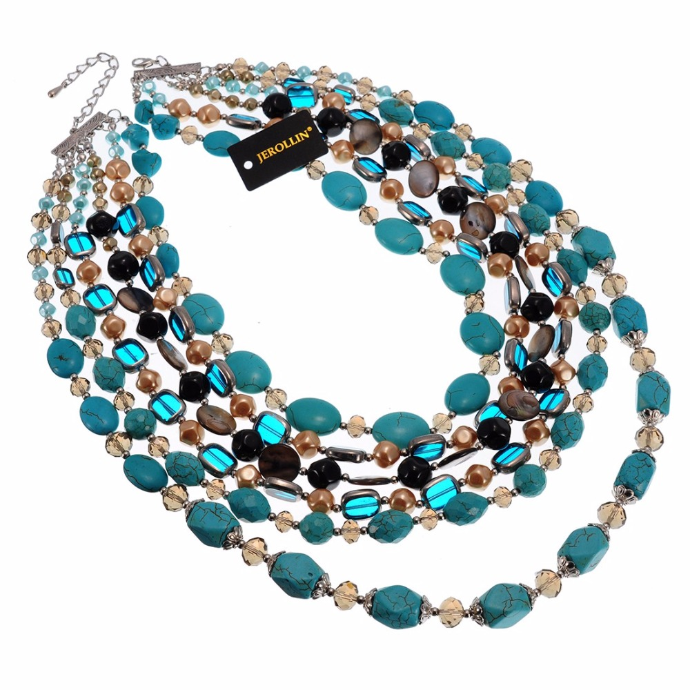 Lady Multi Strand Glass Crystal Turquoise Long Chain Green Bead Necklace
