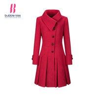 Elegant Woolen Coat Women Long Jackets Winter Single Breasted Ruffled Hem Long Sleeve Red Turn Down
