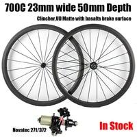 Catazer Full Carbon 700C 23mm Wide 50mm Depth Road Bike Clincher Wheelset With Basalt V Brake
