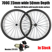 Catazer Full Carbon 700C 23mm Wide 50mm Depth Road Bike Clincher Wheelset With Basalt V Brake