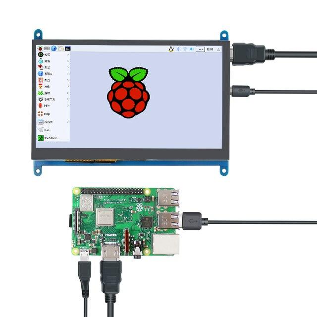 7 cal Raspberry Pi 3 Model B + wyświetlacz LCD ekran dotykowy wyświetlacz LCD 1024*600 HDMI monitor tft + etui na uchwyt dla Raspberry Pi 3