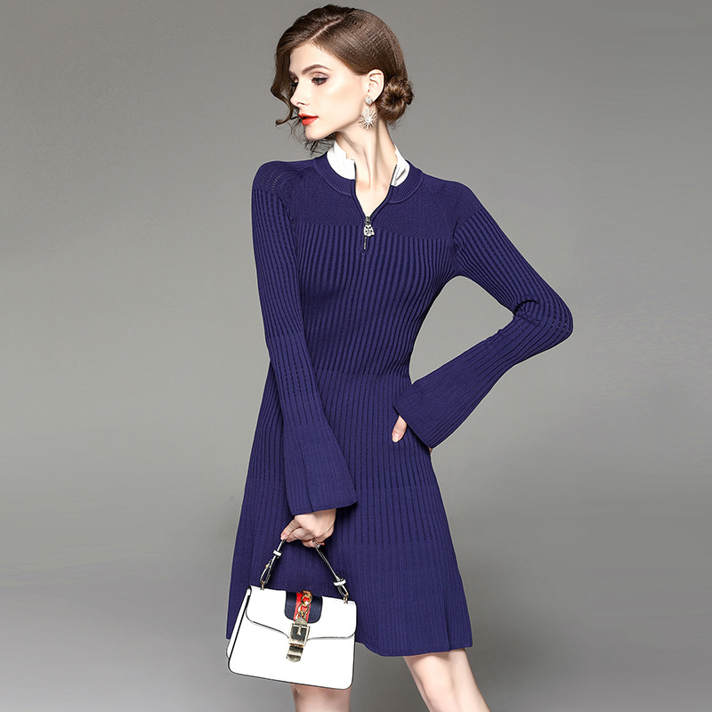 American Style New 2017 Autumn Winter Womens Fashion Slim Stand Collar Patchwork Navy Blue Dress Ladies Sweater Christmas Dress