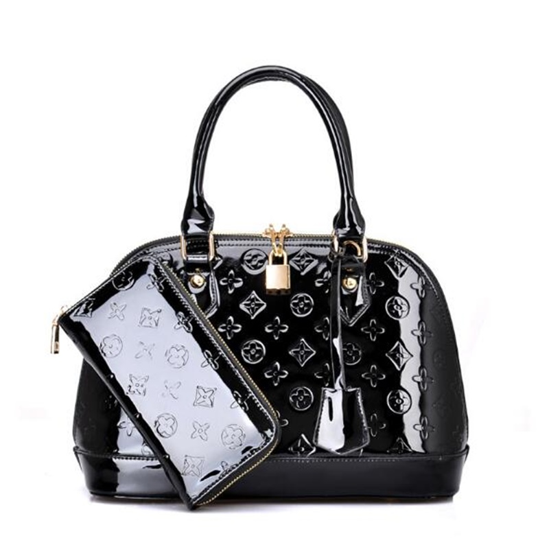 ФОТО Hot Sale Famous Brand Women Handbag Composite Bag Designer Luxury Bright Skin Leather Embossing Shoulder Bag Shell Bag Sac Femme