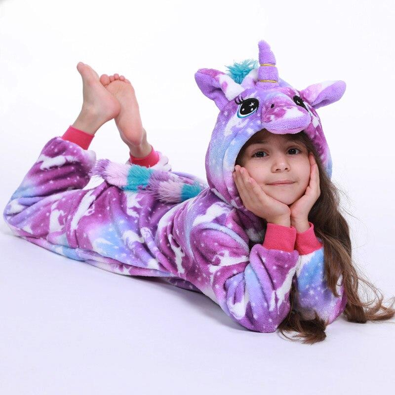 Winter Girls Clothes Kids Unicorn Pajamas Kigurumi Cartoon Animal Licorne Onesie Sleepers Boy Halloween Cosplay Costume Jumpsuit