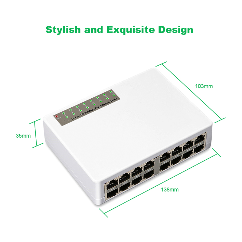 Ethernet 16 Ports Network Switch Fast Ethernet LAN RJ45 Smart Vlan Switcher 10/100Mbps Hub for Desktop PC with EU/US Adapter eu plug 8 rj45 port 10 100mbps ethernet network switch hub desktop mini fast lan switcher adapter