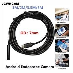 JCWHCAM 7mm ustawianie ostrości  obiektyw aparatu 1 M/1.5 M/2 M/3.5 M/5 M wodoodporny 6 LED Android endoskop przewód usb mini endoskop kamera inspekcyjna