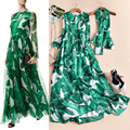 2017 spring and summer fashion high quality long-sleeve banana leaf elegant full print dress vacation wind one-piece dress