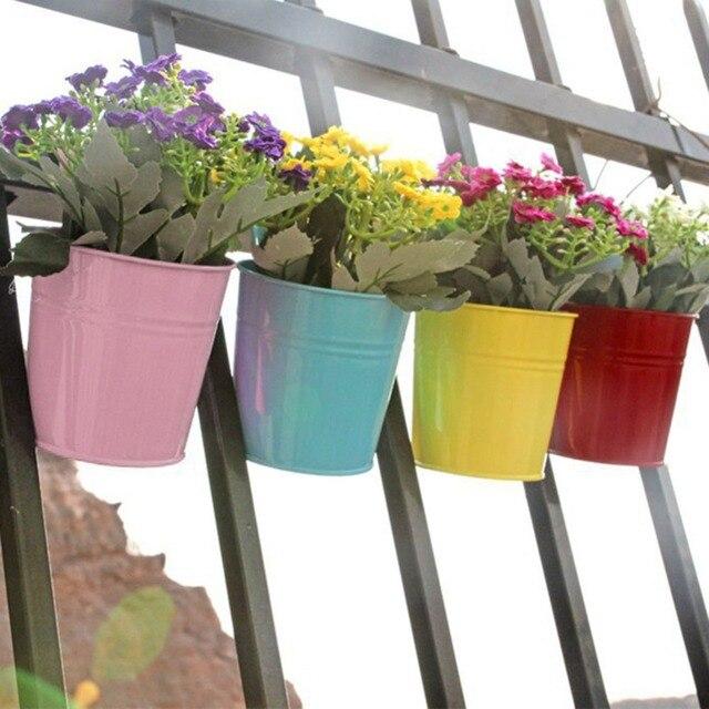 3 Colors Hanging Flower Pot Hook Wall Pots Balcony Steel Holder Garden Home Decor