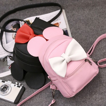 2016 new female bag quality pu leather women bag Korean version of Mickey ears sweet bow College Wind mini backpack