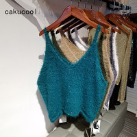 Cakucool Sequined Knit Tank Tops Women Sleeveless Beaded Camisole V Neck Embellish Faux Mink Hair Loose