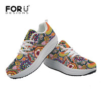 FORUDESIGNS Women Sneakers Platform Shoes Vintage Floral Printed 2019 Casual Swing Shoes Mesh Breathable Trainers Tenis Feminino