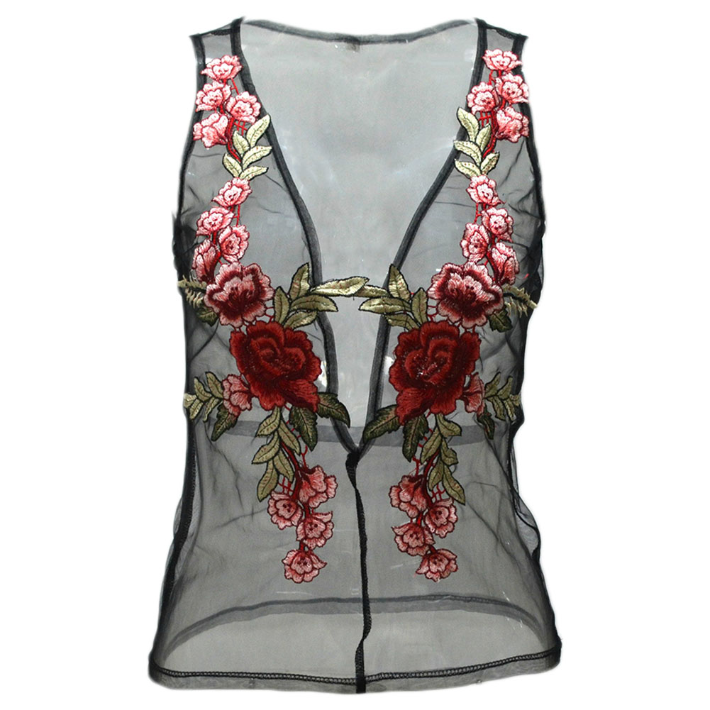 Newest Special Lovely Beautiful women Gift Simple Faddish embroidered gauze Novelty Vest