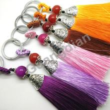 2pcs/lot 13cm New Fashion Colorful Ice Silk Tassel  Bag Cellphone Plush Keyring Car Key/KeyChain  Handmade Accessory GD05ST39