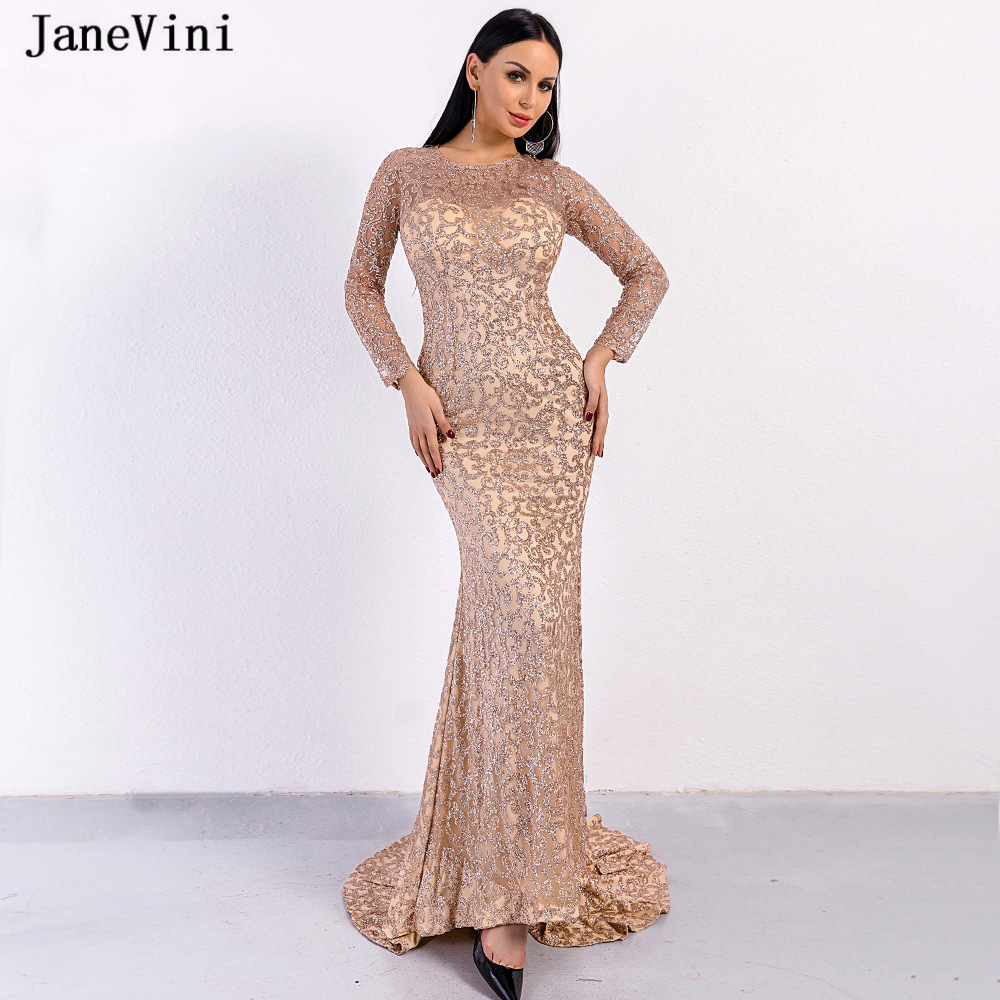 JaneVini Sparkle Dubai Rose Gold Long Sleeve   Evening     Dresses   2019 Mermaid O Neck Sequined Sexy Saudi Arabic Formal   Evening   Gowns