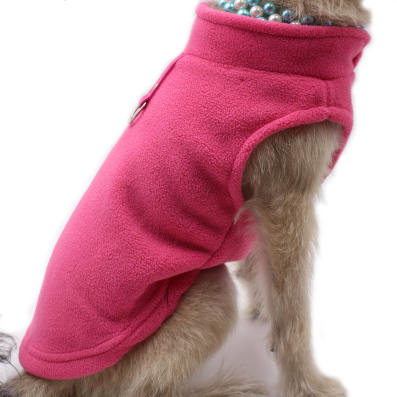 Blank Dog Vest Soft Fleece Clothes for Small Dogs Solid Candy Color Dog Tshirt With Dog Harness Leash D-Ring Pug Yorks Coat