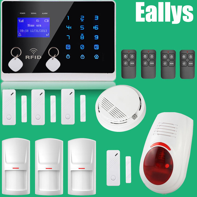 все цены на Free Shipping PERFECT APP Controlled Wireless GSM Autodial Home Security Alarm System+Flash Siren+RFID+Fire Smoke Sensor