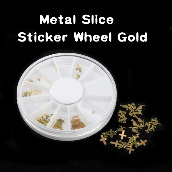 New Fashion DIY Mixed Design Nail Art Tips Decoration Dazzling Tips Slice Sticker Decal Manicure Nail Tools Wheel Gold E