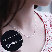 цена на Melon Seed Chain Necklace For Women Width 1 mm Fashion Men's Lady Chain Necklace Silver Color Short Clavicle Melon Seed Chain