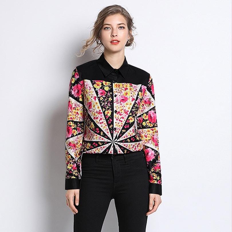 Fashion Women Blouse Runway Flora Print Elegant Office Shirts Ladies Work Long Sleeve Top High Quality Female Clothes