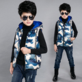 Children's clothing male child vest winter 2016 male child waistcoat child boy autumn and winter thickening with a hood