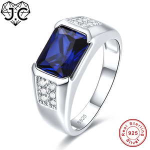 Image 2 - J.C Women Men Vintage Design Luxury Blue Sapphire & Tanzanite & White Topaz 925 Sterling Silver Ring Size 7 8 9 10 Fine Jewelry